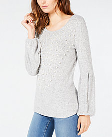 I.N.C. Faux-Pearl Balloon-Sleeve Sweater, Created for Macy's