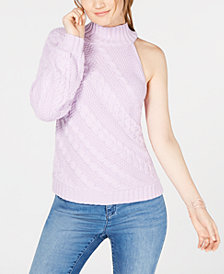I.N.C. Asymmetric Cable One-Shoulder Sweater, Created for Macy's