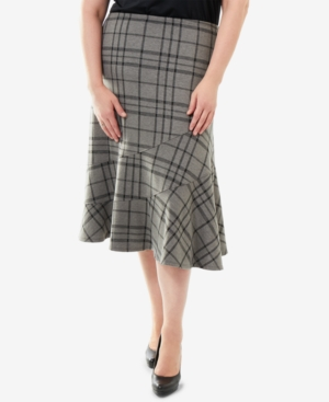 1930s Style Skirts : Midi Skirts, Tea Length, Pleated Ny Collection Plus Size Plaid Midi Skirt $27.00 AT vintagedancer.com