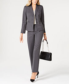 Le Suit Three-Button Striped Pantsuit