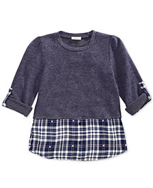 Monteau Big Girls Hacci Layered-Look Top