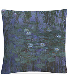 "Monet Blue Water Lilies 16"" x 16"" Decorative Throw Pillow"