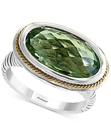 EFFY® Green Quartz Ring (5-1/3 ct. t.w.) in Sterling Silver & 18k Gold