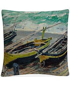 "Monet Three Fishing Boats 16"" x 16"" Decorative Throw Pillow"