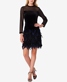 Tahari ASL Illusion Velvet Feather Dress