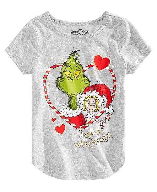 d8d3b9cff1c Dr. Seuss Little Girls Grinch Happy Who-lidays T-shirt & Reviews ...