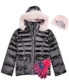 The North Face Little & Big Girls Anders Beanie, Hooded Jacket & Osito Gloves