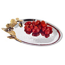 Badash Crystal Petals Stainless Steel & Brass Oval Tray