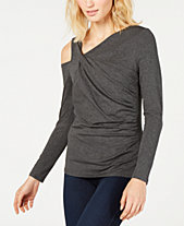 Vince Camuto Ruched Cold-Shoulder Top, Created for Macy's