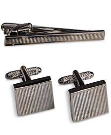 Perry Ellis Men's Off Base Cuff Links & Tie Bar Set