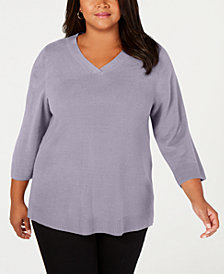 Karen Scott Plus Size V-Neck 3/4-Sleeve Sweater, Created for Macy's