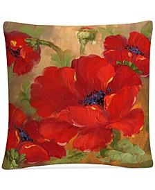 "Rio Poppies Decorative Pillow, 16"" x 16"""