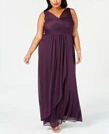 Adrianna Papell Plus Size Draped Embellished Gown
