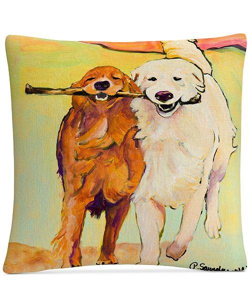 "Baldwin Pat Saunders-White Stick With Me 16"" x 16"" Decorative Throw Pillow"