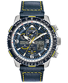 Citizen Eco-Drive Men's Analog-Digital Chronograph Promaster Blue Angels Skyhawk A-T Blue Leather Strap Watch 46mm