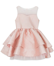 Rare Editions Toddler Girls Illusion Neck Satin Dress