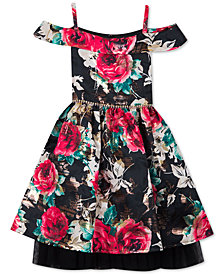 Rare Editions Little Girls Floral Jacquard Fit & Flare Dress