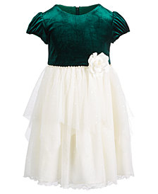 Bonnie Jean Little Girls Velvet Organza Dress