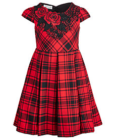 Bonnie Jean Little Girls Embroidered-Neck Plaid Dress