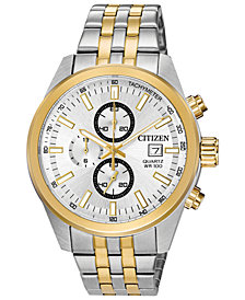 Citizen Men's Quartz Two-Tone Stainless Steel Bracelet Watch, Created for Macy's, 43mm