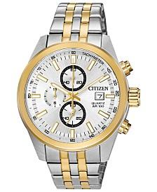 Citizen Men's Quartz Two-Tone Stainless Steel Bracelet Watch, Created for Macy's, 43mm