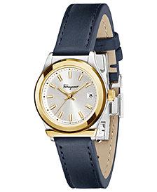 Ferragamo Women's Swiss 1898 Blue Leather Strap Watch 28mm