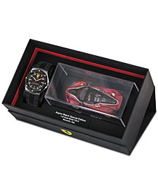 Ferrari Men's Aspire Black Silicone Strap Watch 42mm Gift Set