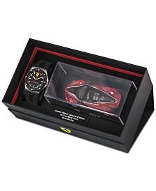 Ferrari Men's Aspire Black Silicone Strap Watch 42mm Gift Set