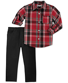 Kids Headquarters Little Boys 2Pc. Plaid Shirt & Pants Set