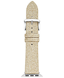 kate spade new york Women's Gold-Tone Glitter Leather Apple Watch® Strap
