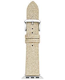kate spade new york Women's Gold-Tone Glitter Leather Apple Watch® Strap