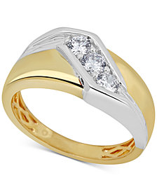 Men's Diamond Two-Tone Ring (1/2 ct. t.w.) in 10k Gold & White Gold