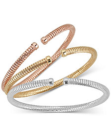 3-Pc. Set Tubogas Bangle Bracelets in 14k Gold-, White Gold- & Rose Gold-Plated Sterling Silver