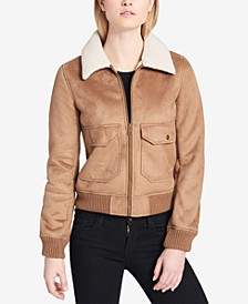 Women's Sherpa-Trim Bomber Jacket