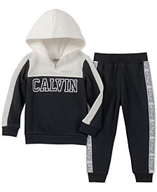 Calvin Klein Toddler Girls 2-Pc. Colorblocked Fleece Hoodie & Jogger Pants Set