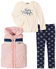 Little Girls 3-Pc. Ruffled Vest, Logo Top & Star-Print Leggings Set