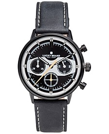 Men's Chronograph Fairfax Racing Black Leather Strap Watch 40mm