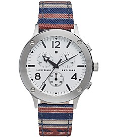 Men's Chronograph Rockpoint Stripe Canvas Strap Watch 42mm