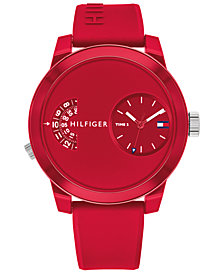 Tommy Hilfiger Men's Red Silicone Strap Watch 44mm - Created for Macy's