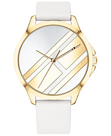 Tommy Hilfiger Women's White Leather Strap Watch 38mm Created for Macy's