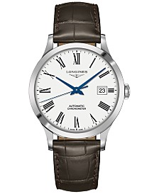 Longines Men's Swiss Automatic Record Collection Brown Alligator Leather Strap Watch 40mm