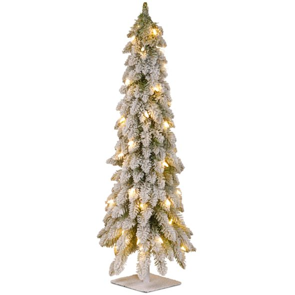 National Tree Company National Tree 48 Snowy Downswept Forstree with Metal Plate and 100 Clear Lights