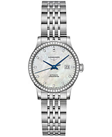 Longines Women's Swiss Automatic Record Collection Diamond (1/2 ct. t.w.) Stainless Steel Bracelet Watch 30mm