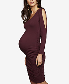 A Pea In The Pod Maternity Ruched Cold-Shoulder Dress
