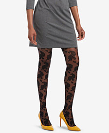 HUE® Control-Top Floral Lace Sheer Tights