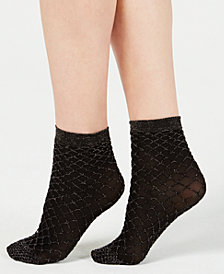 I.N.C. Metallic Fishnet Anklet Socks, Created for Macy's