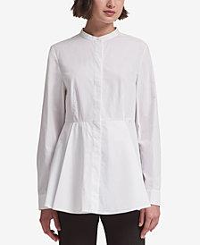 DKNY Mandarin-Collar Peplum Shirt, Created for Macy's