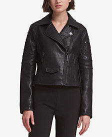 DKNY Studded Faux-Leather Moto Jacket
