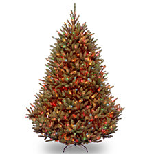 National Tree 7 .5' Natural Fraser Med Fir Hinged Tree with 1000 Multi Color Lights