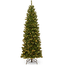 National Tree 6 .5' North Valley Spruce Pencil Slim Tree with Clear Lights